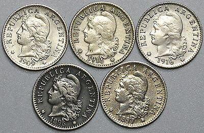 1896 1897 1909 1914 1916 ARGENTINA 5 centavos Lot of FIVE Coins (17032201R)