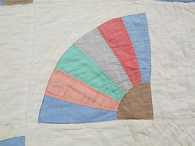 VTG Antique 1930s FEEDSACK DISTRESSED GRANDMOTHERS FAN CUTTER lap Quilt PC 38X46