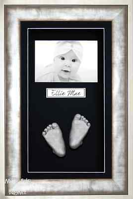 New BabyRice Baby Casting Kit Silver Metal effect Frame Black Photo Display
