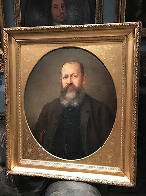 Large Antique 19th Century Oil Portrait Painting Of A Man With Beard
