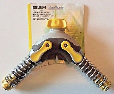 Nelson Dual Outlet Flex Connect High Flow Hose Connector with Shut-Off NEW
