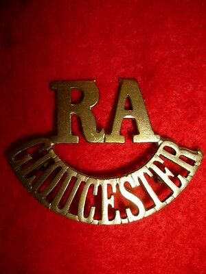 RA/GLOUCESTER Shoulder Title Badge, Royal Artillery Volunteers 1880-1908