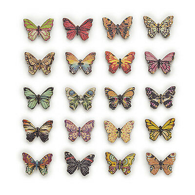 50pcs Mixed Butterfly Wood Buttons Sewing Scrapbooking Clothing Decor 25x17mm