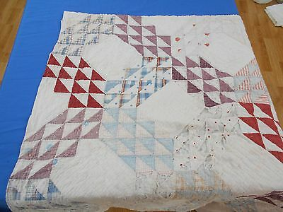 Vintage Antique DISTRESSED 1910 OCEAN WAVES Hand Stitched CUTTER Quilt PC 36x36