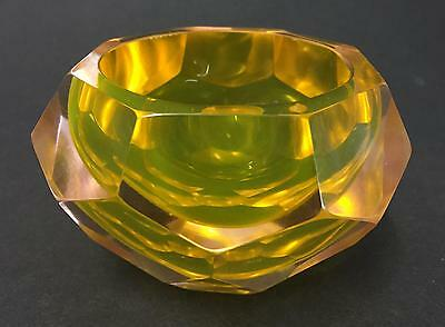 STUNNING URANIUM GOLD & PINK MURANO SOMMERSO ITALY FACETED GLASS DISH 1950s 60s