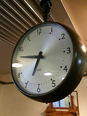 Vintage Gents Leicester Industrial -Station / Airport Double Faced Hanging Clock