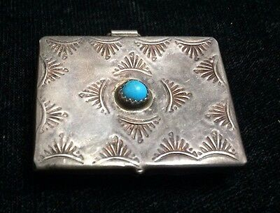 Vintage Navajo Silver and Turquoise Box STERLING Native American *ST573
