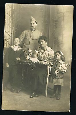 Military Uniform Soldier & Family with Doll Portrait Postcard #8093
