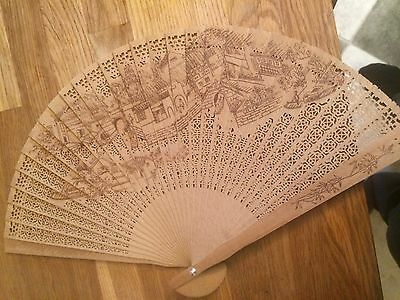 Pretty Vintage Wooden Carved Chinese Fan-with box