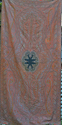 19Th Century Antique Paisley Embroidered Textile With Black Center Ff37