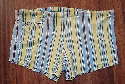 VTG 70-80's MAX NYLON STRETCH YELLOW STRIPED SHORT SWIM BRIEF SHORTS MEN'S SZ M