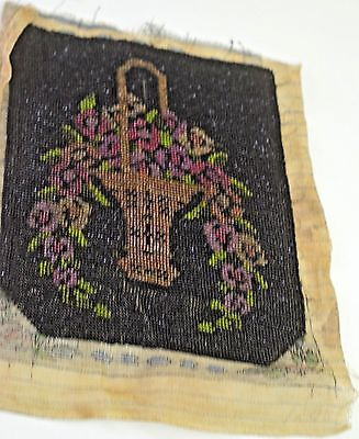 Beautiful Antique Beaded Panel With Flower Basket Ss5461