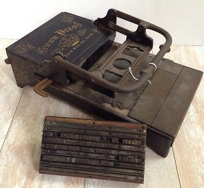 ANTIQUE Crown Press LETTERPRESS HAND PRINTING February 14, 1888
