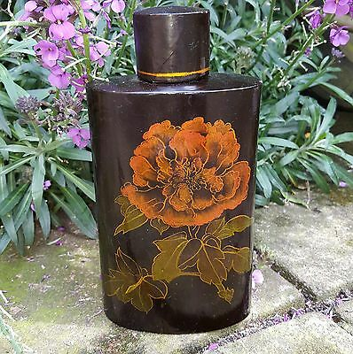 Antique 19th CENTURY PAPIER MACHE LIDDED TEA CADDY WITH FITTED