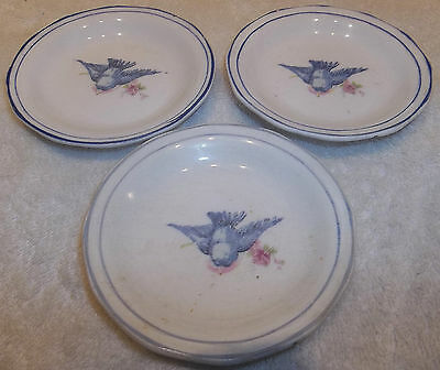 3 Vintage BLUEBIRD CHINA Butter Pats Homer Laughlin Style