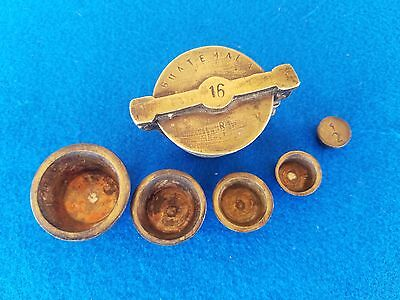 Vtg Brass Nesting Scale Weight Set Apothecary Cup Folding Mercantile Guatemala