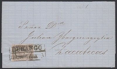MEXICO, 1862. Folded Letter 8, Durango - Zacatecas