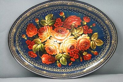 Tole Tray Vintage Russian Artist Signed Oval Peach Salmon Red Flowers Gold Trim