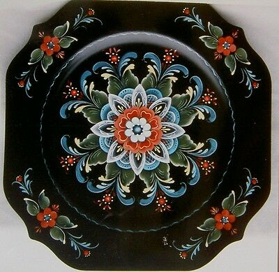 "Arlene Newman lovely tole painting pattern""Rogaland Square Plate"""