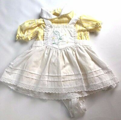 VTG Shirley Temple Pinafore Apron Style Dress Infant Baby Doll Yellow & White