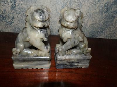 Foo Dogs Hand Carved Of Stone Material Pair Vntg.