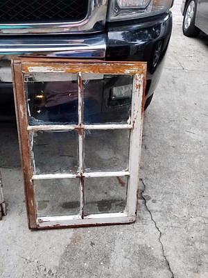 """Old Vintage Unique Antique Window Frame 6 Pane 38"""" X 19"""" Shabby Chic With Glass"""