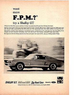 1967 Ford Mustang Shelby Cobra Gt-350 & Gt-500  ~  Nice Original Print Ad