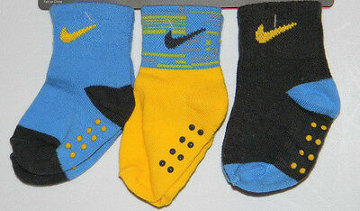 New Nike Blue Yellow Sz 12-24 Months 3 Pair Pack Baby Toddler Grippy Boy Socks