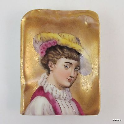 Antique Victorian Hand Painted Lady Portrait Butter Pat Chip Pin Tray
