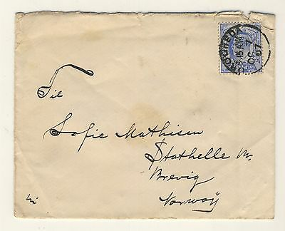 GB/ Ireland - 1907 KEVII SG230 on cover from DROGHEDA to BREVIK, Norway