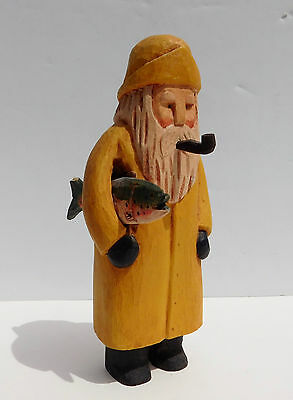 Vintage Folk Art Fisherman Carrying Trout Hand Carved & Painted Wood Angelworks