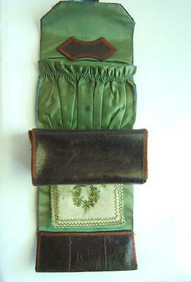 ANTIQUE VICTORIAN SILK & LEATHER SEWING CASE 1800's?