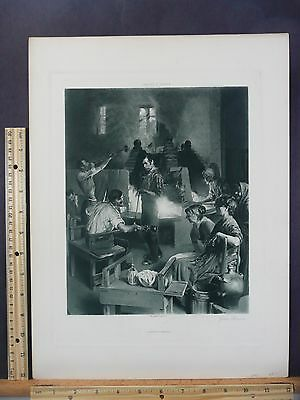 Rare Antique Original VTG Glass Blowers Charles F Ulrich Engraving Art Print