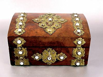 English Victorian BURL ELM WOOD BRASS MOUNTED BOX Milk Glass Cabochons c.1870