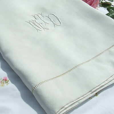 Vintage French Linen Dowry Sheet with Monogram Excellent Unused 100% Pure Linen
