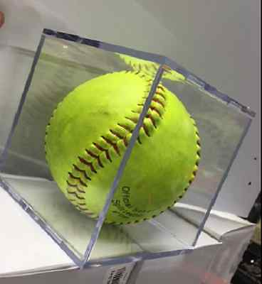 """Softball 12"""" Cube Display Holder / Clear Case / Gift , Signature"""