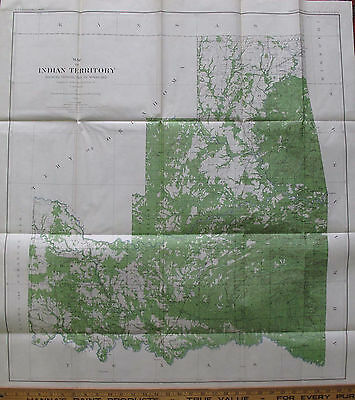 Forestry Forests Folded Color Map Indian Territory Distribution Woodland 1899