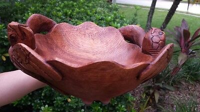 Gorgeous Intricate Handcarved Mahogany Double Turtle Bowl Home Decor Art!