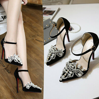 Pumps Suede Pointed Stiletto High Heels Shoes Womens Pearl Ankle Strap Sandals