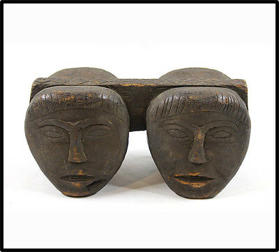 Antique SUPERB Paiwan figural carved beam 4 figures Formosa tribal Taiwan RARE