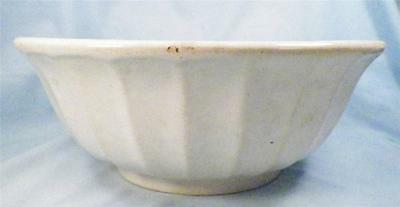 Antique Fluted Pottery Bowl White Mixing Wash Vanity Set As Is Condition