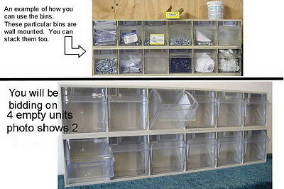 4 - Sturdy Plastic Tip-Out Storage Units - Six-Bin System - Reburbished