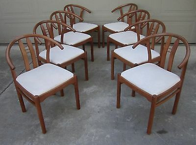 Set 8 Danish Modern style teak wishbone dining chairs D-Scan horseshoe vintage