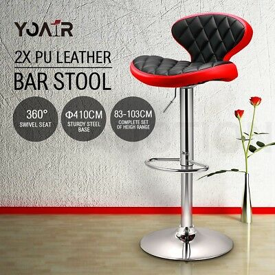 2x New PU Leather Swivel Bar Stool Gas Lift Kitchen Dining Chair A.C.Milan Style