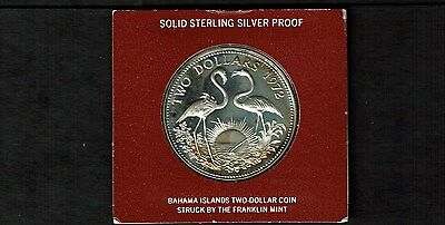 Bahamas $2 Dollar Silver Proof Crown 1972 Flamingos Sealed (No Case) (.8862 Ozs)