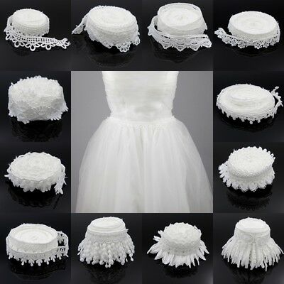 3/5yds Flower White Lace Trim Wedding Bridal Dress Ribbon Belt Sash Decor Craft
