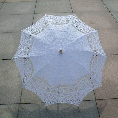 UK Women Lace Sun Parasol Umbrella Wedding Bridal Ivory Umbrella Photo Accessory