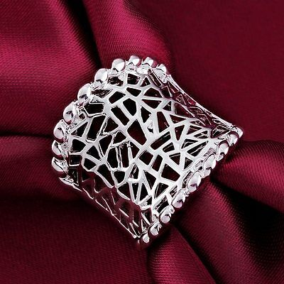 NEW 925 Sterling Silver Plated Fashion Men Ladies WOMEN HOT nice Rings Jewelry