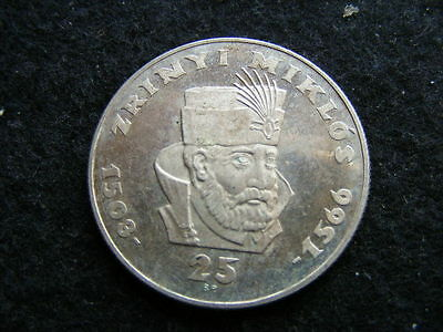 HUNGARY 25 Forint 1966 Huszonot 12 grams .640 silver impaired proof