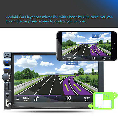 """Android 5.1 7"""" Doble Bluetooth 2din Coche Radio Estéreo MP5 MP3 Reproductor DVD"""